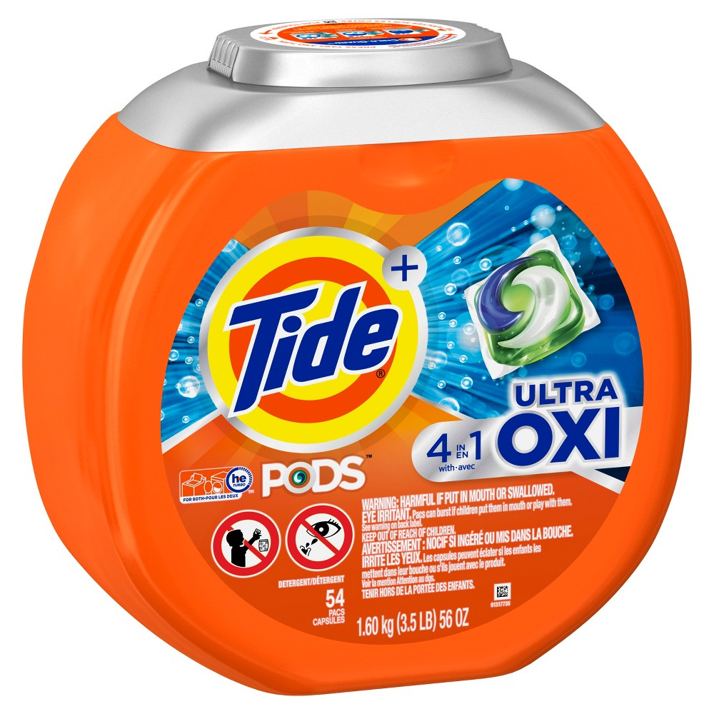 Tide Pods Laundry Detergent Pacs Ultra Oxi - 54ct