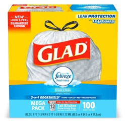 Glad OdorShield Tall Kitchen Drawstring Trash Bags - Febreze Fresh Clean  - 13 Gallon