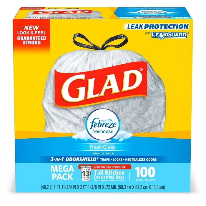 Glad OdorShield Fresh Clean Scented Drawstring Tall Kitchen Trash Bags - 100ct - image 1 of 6