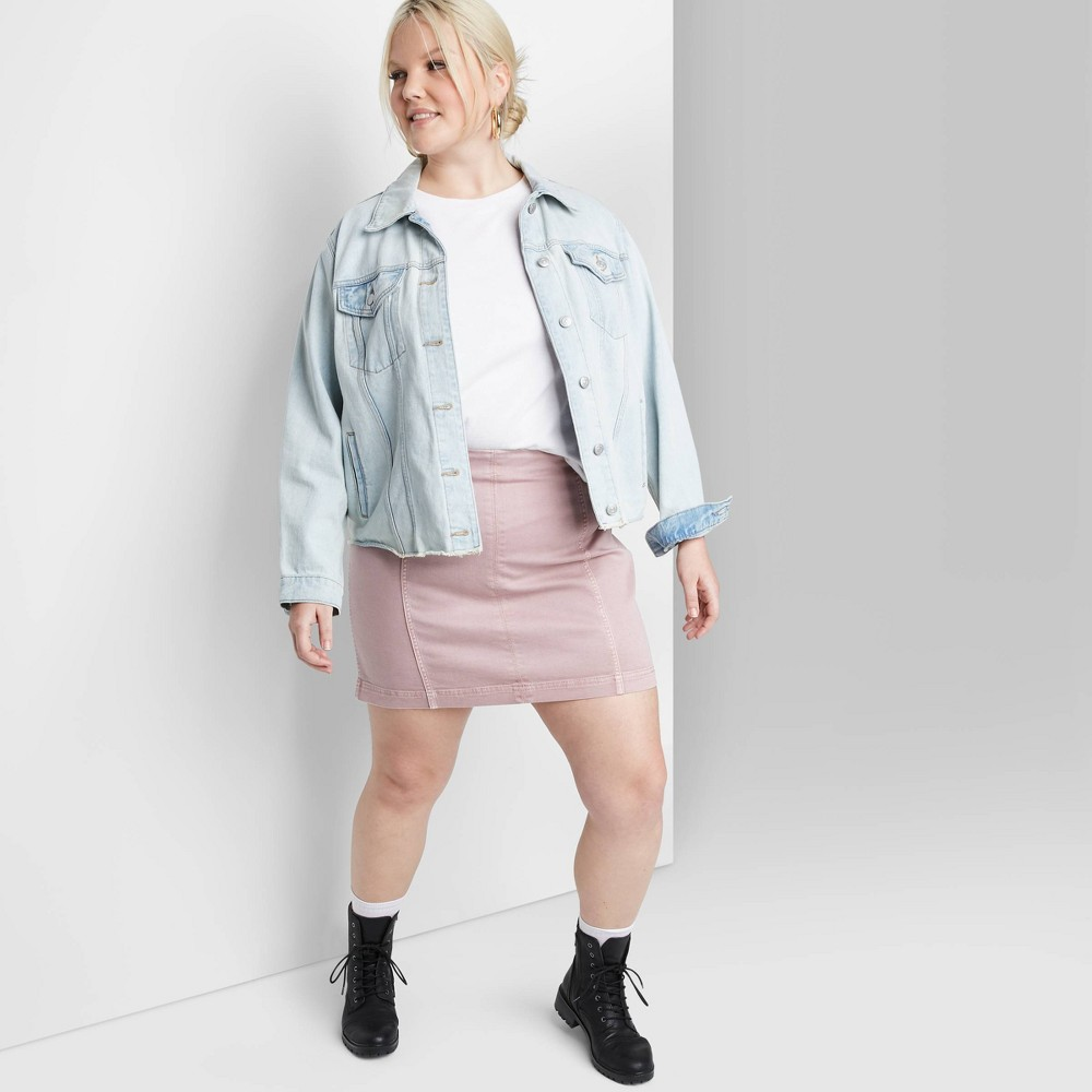Women's Plus Size Seamed Denim Mini Skirt - Wild Fable Rose 14W, Women's, Pink was $17.0 now $11.9 (30.0% off)