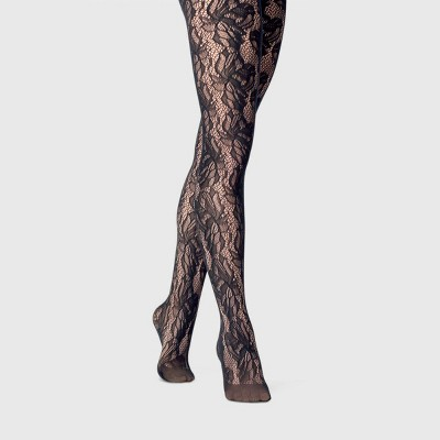 Women's Plus Size Floral Print 80D Control Top Super Opaque Tights - A New Day™ Black 1X-2X