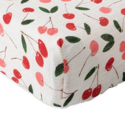 Red Rover Cotton Muslin Changing Pad Cover - Cherries