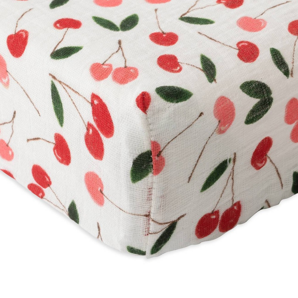Image of Red Rover Cotton Muslin Changing Pad Cover - Cherries