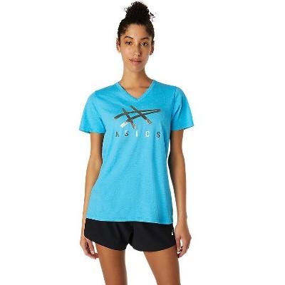 ASICS Women's Stripe V-Neck Tee Apparel 2032C197