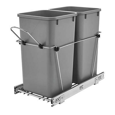 Rev-A-Shelf RV-15KD-17C S Double 27-Quart Chrome Wire Bottom Mount Pullout Kitchen Waste Trash Can Container Bin with Full-Extension Slides, Silver