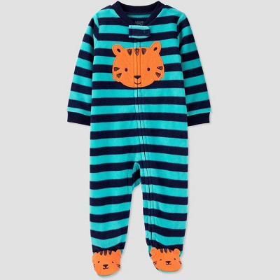 Baby Boys' Striped Fleece Sleep 'N Play - Just One You® made by carter's Green/Blue Newborn