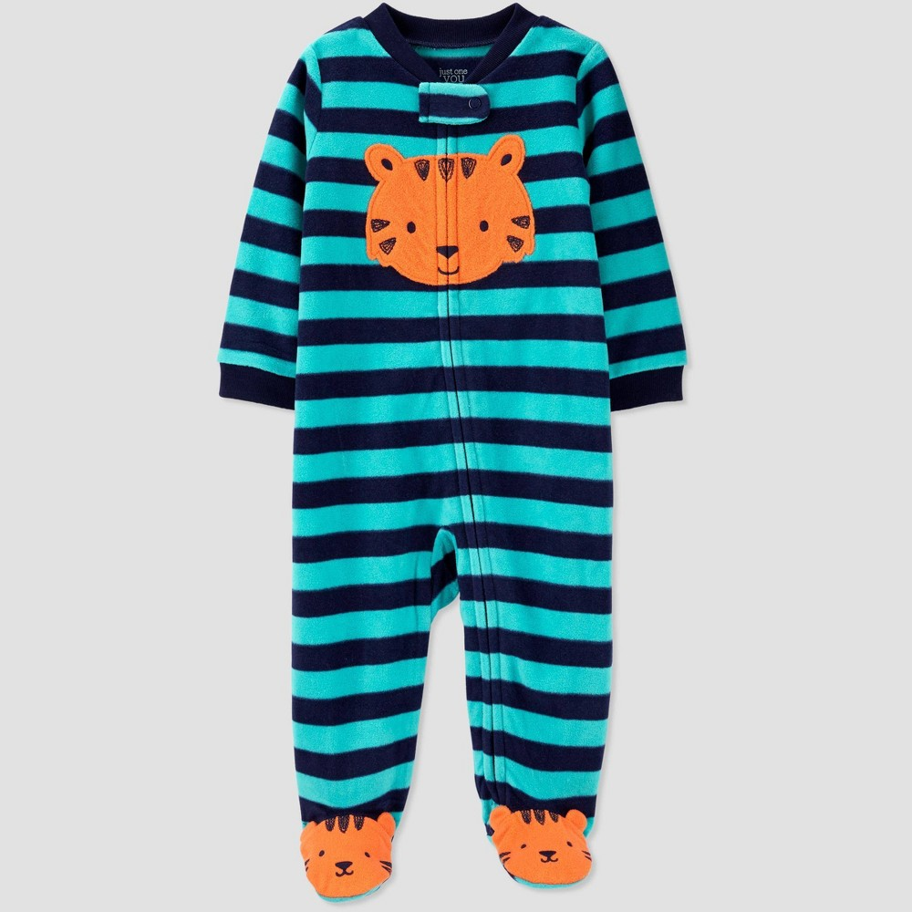 Image of Baby Boys' Striped Fleece Sleep 'N Play - Just One You made by carter's Green/Blue 6M, Boy's