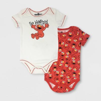 Baby Boys' 2pk Sesame Street Elmo Long Sleeve Hooded Bodysuit - White/Red