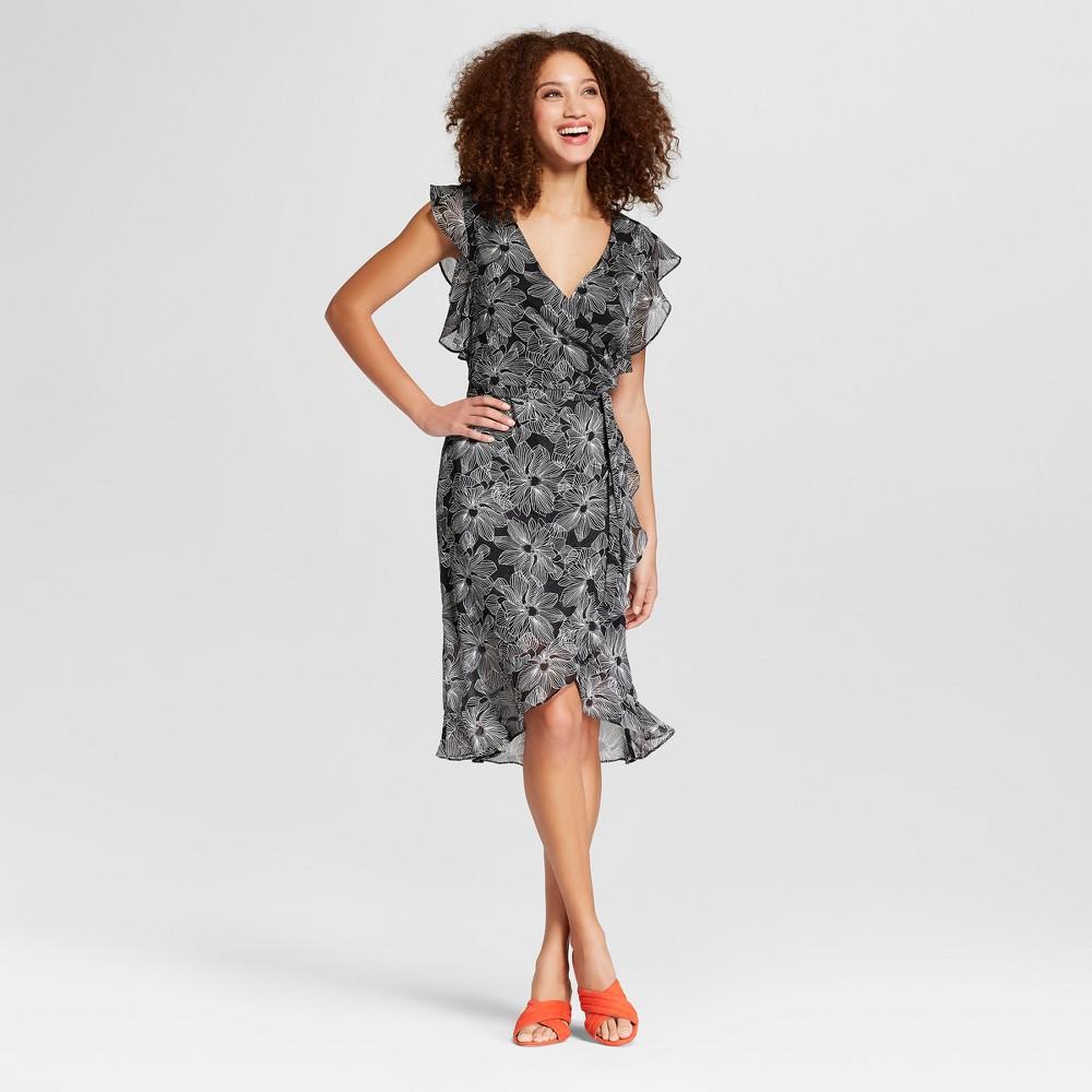 Women's Floral Print Short Sleeve Ruffle Wrap Dress - A New Day Black M