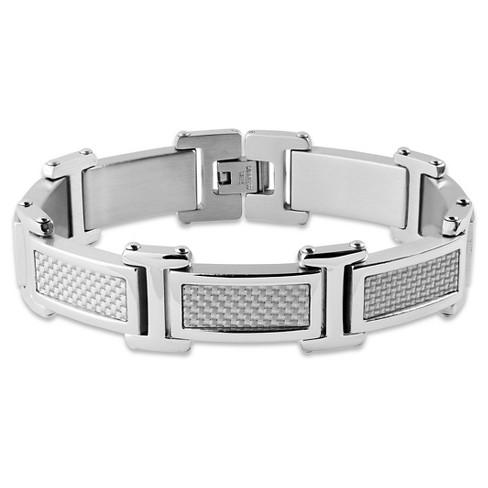 Men S Crucible Stainless Steel Gray Carbon Fiber Link Bracelet