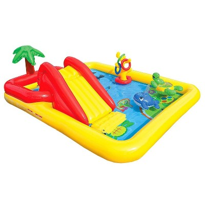 Intex 57454EP 100in x 77in Inflatable Ocean Children's Play Center Outdoor Backyard Kiddie Pool and Game Set with Water Slide and Built-In Sprayer