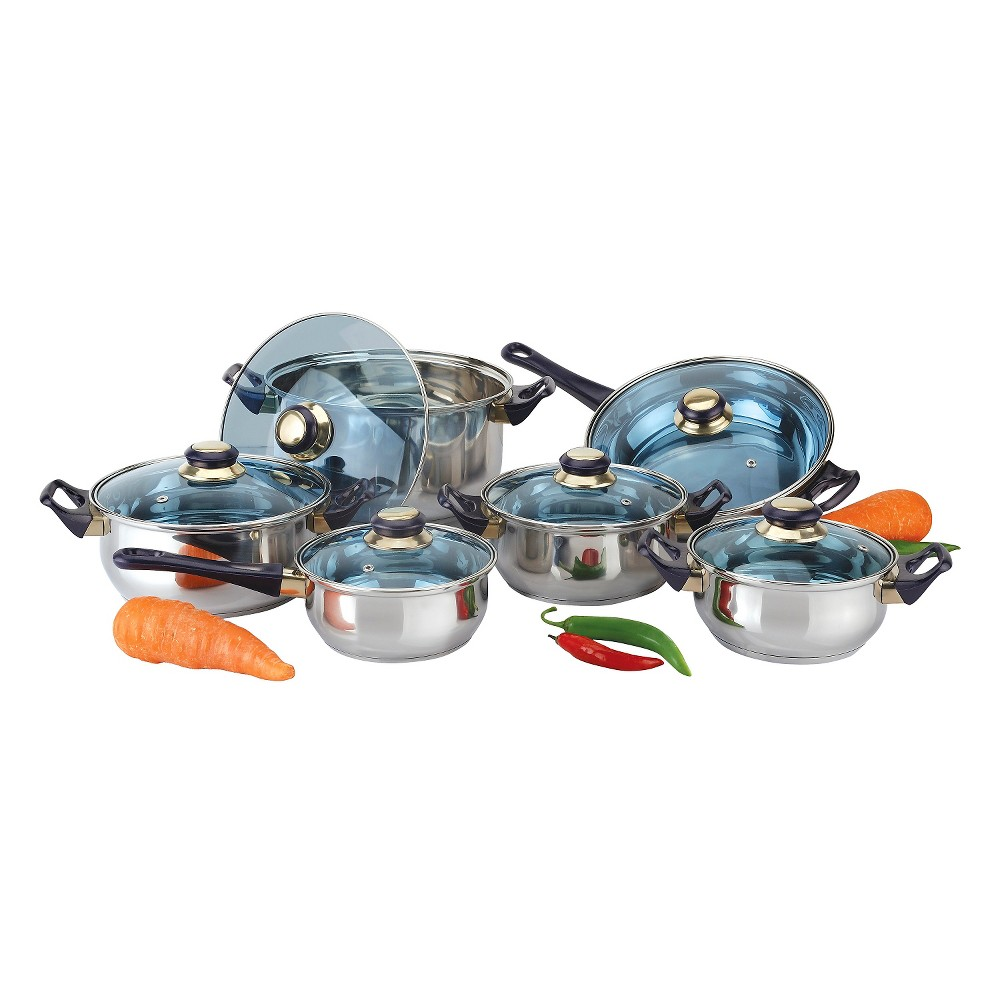 Image of Gourmet Chef 12 Piece Stainless Steel Cookware Set with Blue Handles and Knobs