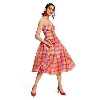 Women's Plaid Sleeveless V-Neck Silk Dress - Isaac Mizrahi for Target L