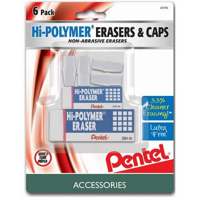 Pentel 6pk Erasers and Caps White