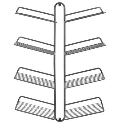 mDesign Metal Shoe Display & Storage Rack, 4 Tier, Wall Mount