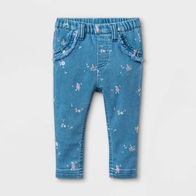 Baby Girls' Floral Denim Pants - Cat & Jack™ Blue 3-6M