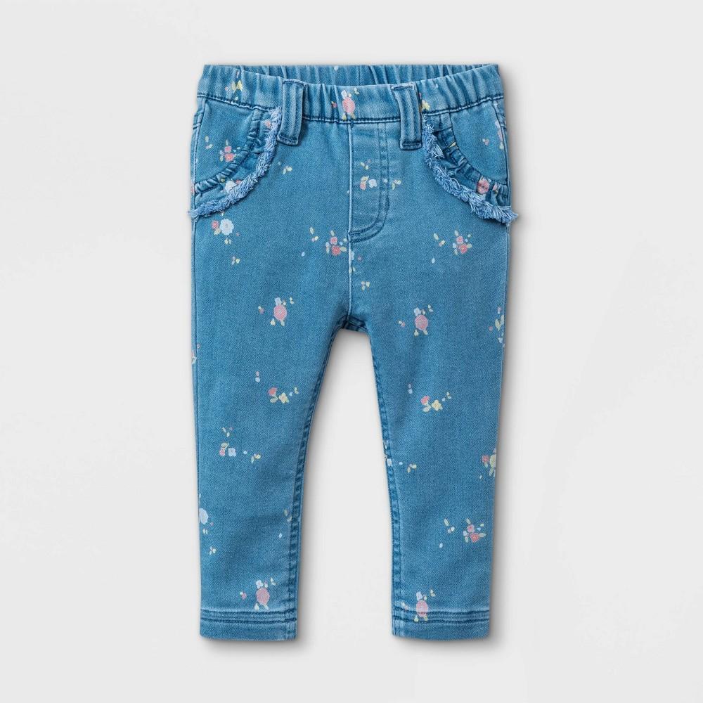 Baby Girls 39 Floral Denim Pants Cat 38 Jack 8482 Blue 6 9m