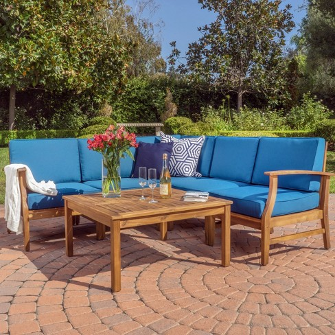 Perla 6pc Acacia Wood Patio Chat Set Christopher Knight Home Target