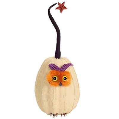 "Melrose 15.5"" Burlap Owl Pumpkin with Star Autumn Decoration - White/Orange"