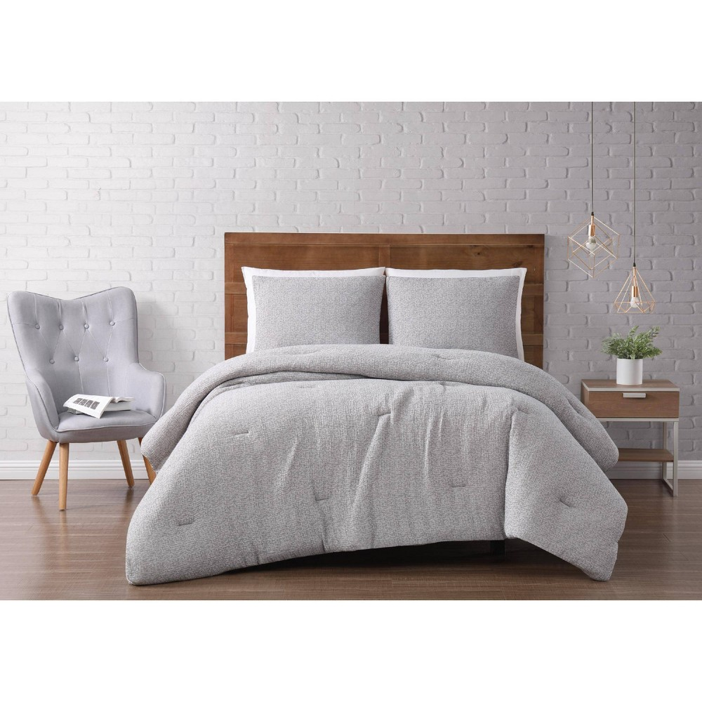 Image of Full/Queen 3pc Solid Woven Matelasse Comforter Set Gray - Brooklyn Loom