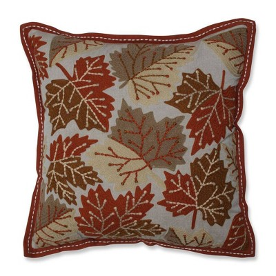 """18""""x18"""" Falling Leaves Harvest Square Throw Pillow - Pillow Perfect"""