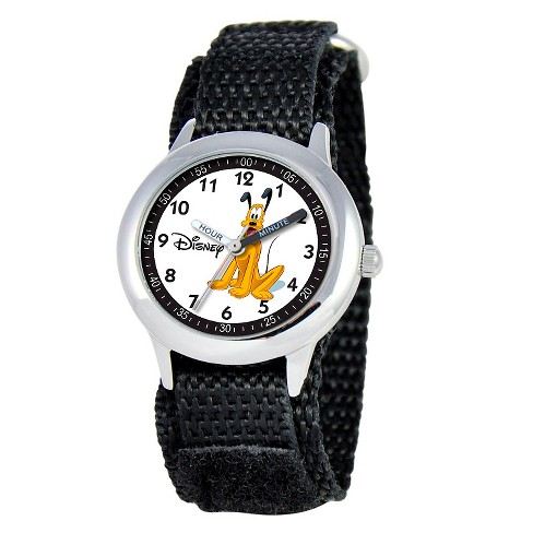 Boys' Disney Pluto Stainless Steel Time Teacher Watch - Black - image 1 of 2