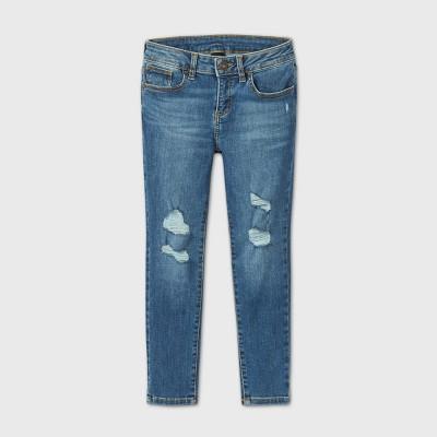 Girls' Distressed Skinny Mid-Rise Jeans - art class™ Blue