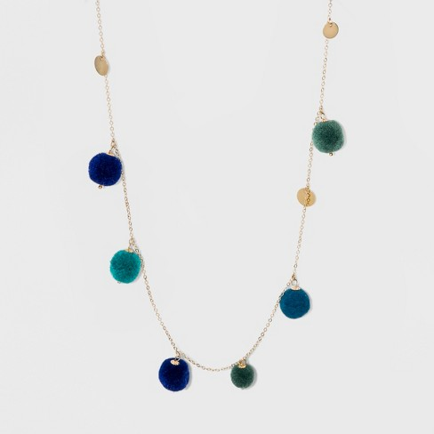 Long Necklace with Pom Poms and Coins - A New Day™ - image 1 of 3