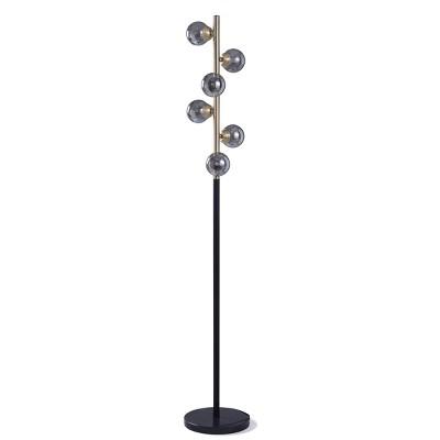 6pc Margate Globe Floor Lamps Gold/Black - StyleCraft
