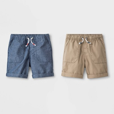 Toddler Boys' 2pk Novelty Texture Pull-On Shorts - Cat & Jack™ Blue/Khaki 3T