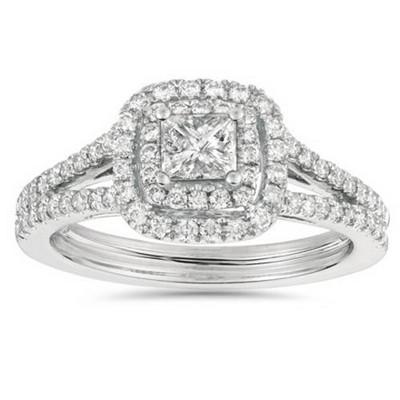 Pompeii3 1ct Princess Cut Diamond Double Halo Engagement Ring 14K White Gold - Size 7