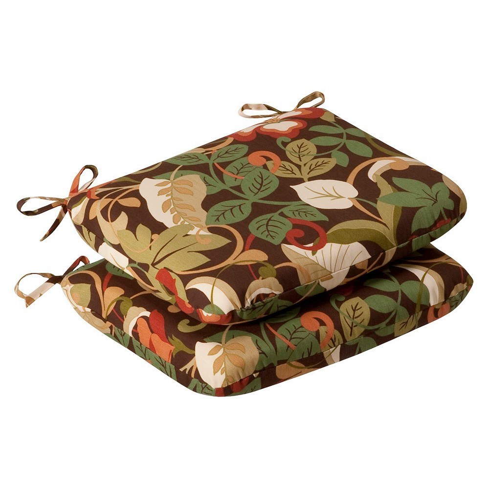Outdoor 2-Piece Chair Cushion Set - Brown/Green Floral