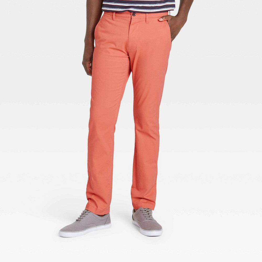Men 39 S Slim Fit Hennepin Chino Pants Goodfellow 38 Co 8482 Coral 31x30