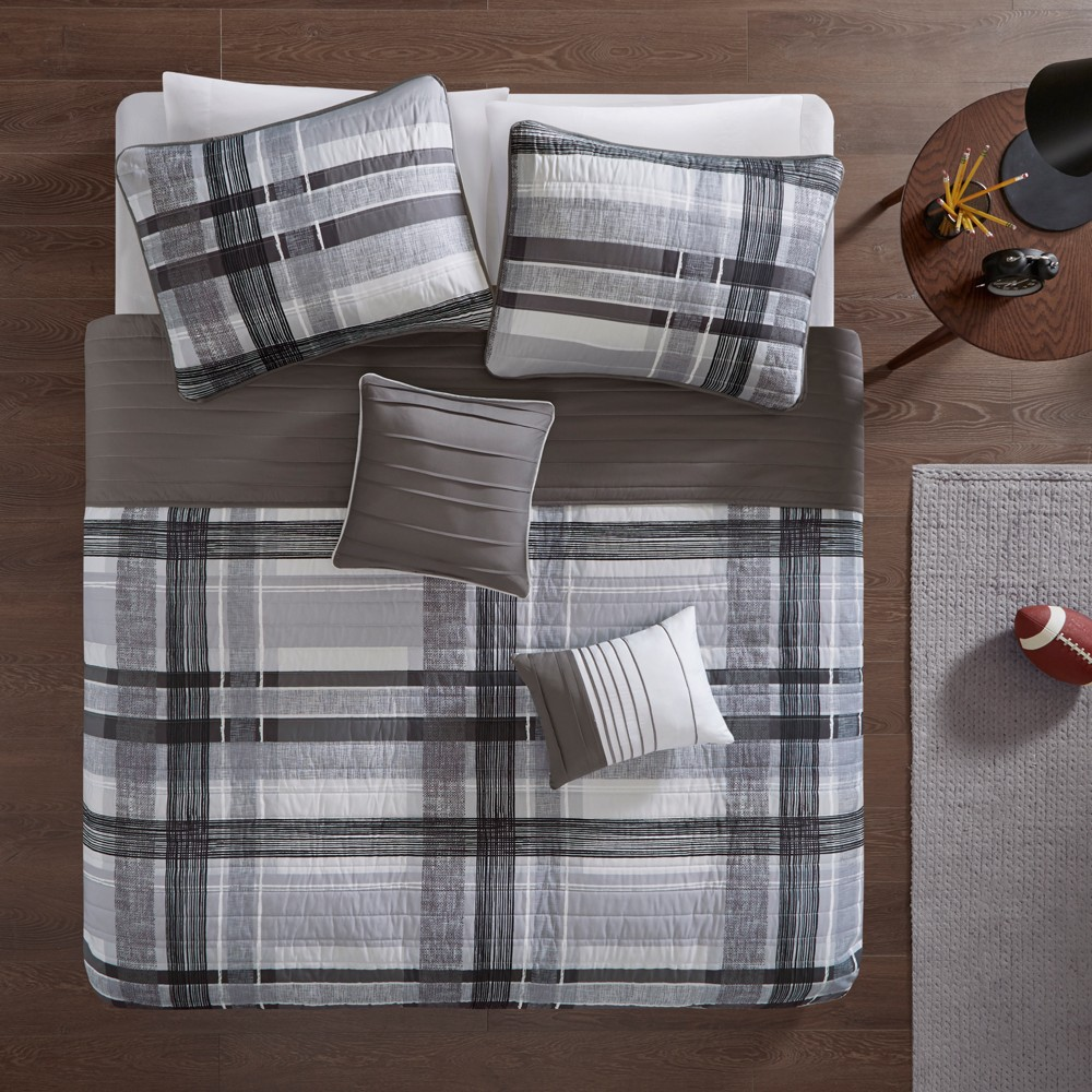 Image of 4pc Twin/Twin XL Slate Plaid Coverlet Set Black