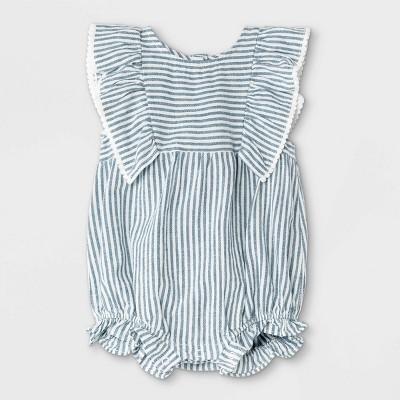 Baby Girls' Striped Woven Ruffle Leg Romper - Cat & Jack™ Blue/White 3-6M
