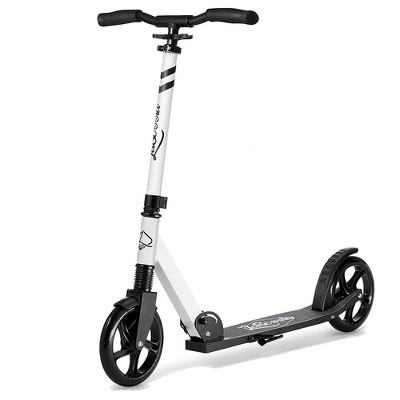 LaScoota Premium Adjustable Portable Folding Kick Scooter with Lightweight Wide Non Slip Deck and Carry Strap, White