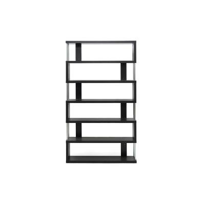 """75.5"""" Barnes Six Shelf Modern Bookshelf Dark Brown - Baxton Studio"""