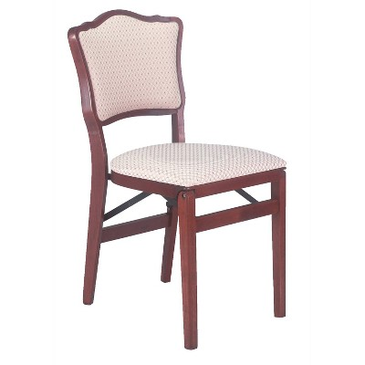 Set of 2 French Upholstered Back Folding Chair Cherry - Stakmore