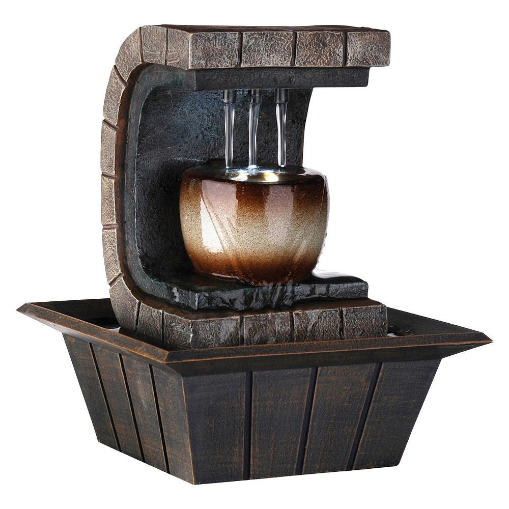 "Image of ""9.75"""" Meditation Fountain with LED Light Brown"""