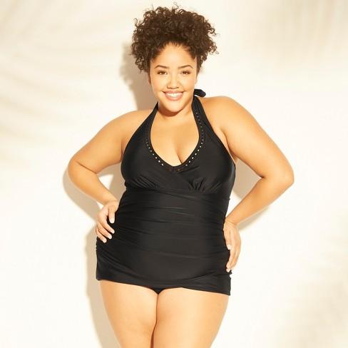 4be4b802978 Women s Plus Size Trim Inset Halter Swim Dress - Kona Sol™ Black ...
