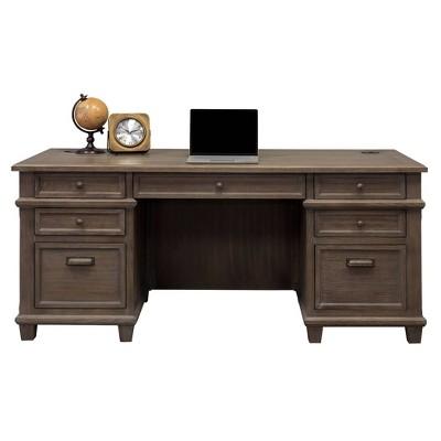 Carson Double Pedestal Desk Brown - Martin Furniture