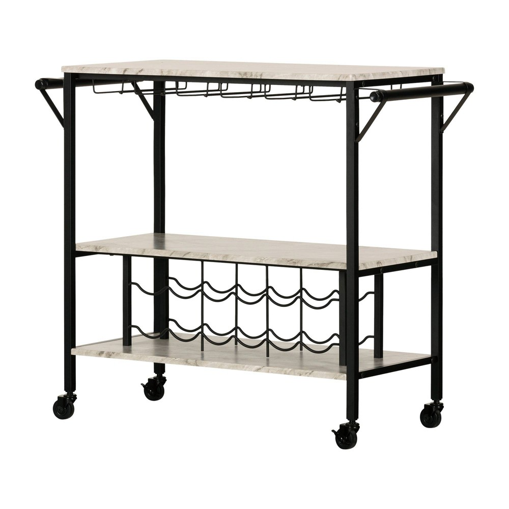 Image of Maliza Bar Cart with Wine Bottle Storage and Wine Glass Rack Black - South Shore