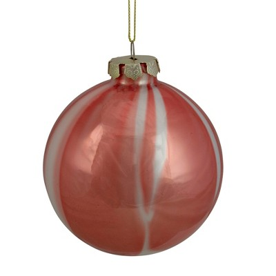 """Northlight 4"""" Red and White Marbled Glass Christmas Ornament"""