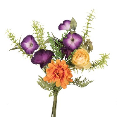 "Artificial Petunia/Mum Plant (7"") Orange - Vickerman"