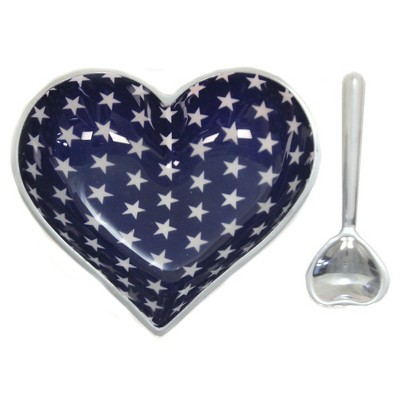 Tabletop Happy Metal Heart W/Spoon Dish Party Salsa Dips Inspired Generations Llc  -  Serving Bowls