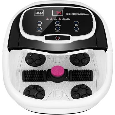 Best Choice Products Portable Heated Shiatsu Foot Bath Massage Spa w/ Pumice Stone, Waterfall, Adjustable Heat - Black