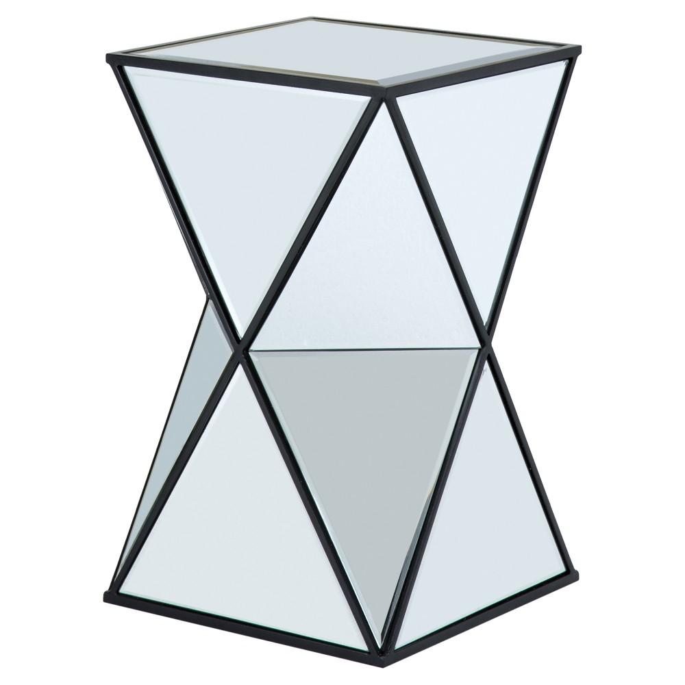 Nixon Angular Mirror Accent Table - Silver, Light Silver