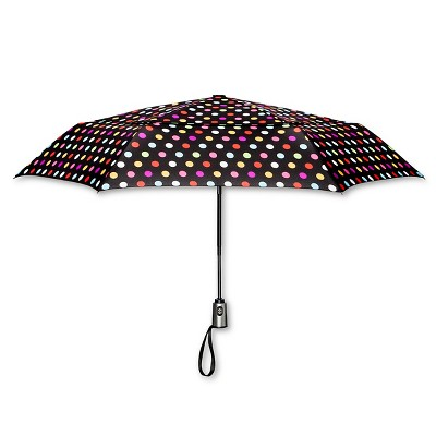 ShedRain Auto Open/Close Air Vent Compact Umbrella  - Black Polka Dot