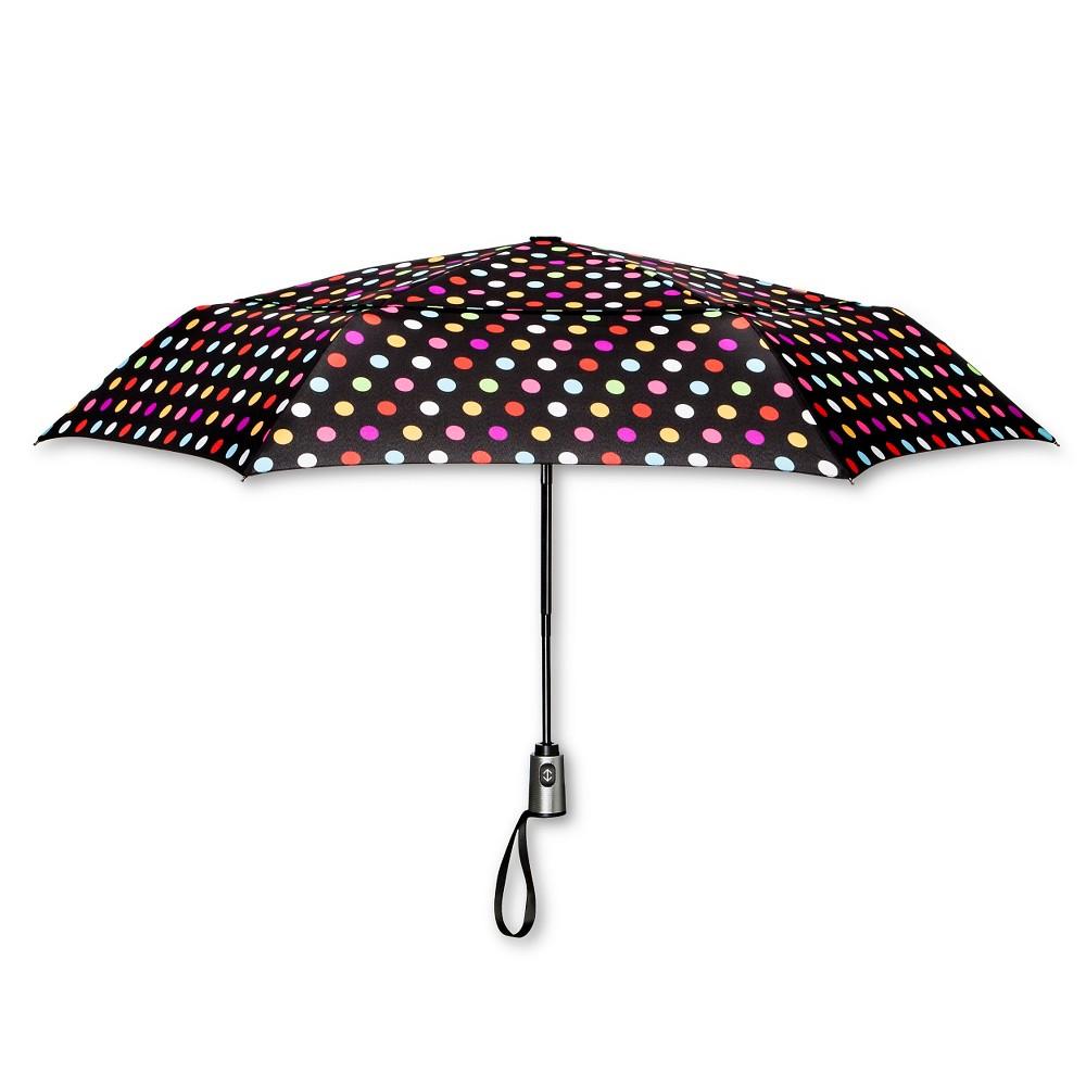 Image of ShedRain Auto Open/Close Air Vent Compact Umbrella - Black Polka Dot, MultiColored