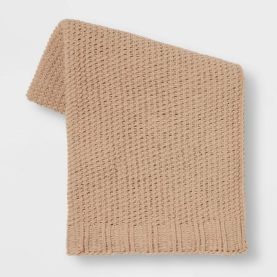 Solid Chenille Knit Throw Blanket Neutral - Threshold™